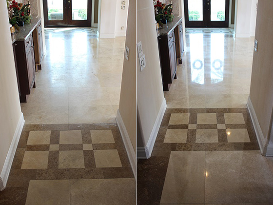 Oldsmar Florida Travertine Before and After