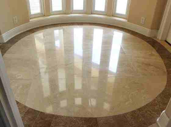 Dull, Dirty Travertine Refinished to Good-as-New!