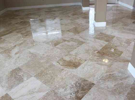 Damaged Travertine Floor Restored