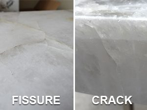 natural stone countertops showing the difference between a crack and a fissure
