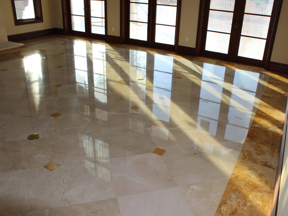 A polished shiny Marble floor after removing all the scratches by our honing and polishing services