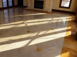 A polished shiny Marble floor after removing all the scratches