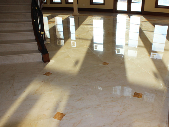 Honing and polishing services used to remove scratches on Marble floor