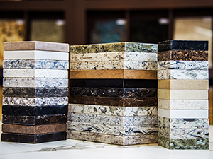 Three stacks of marble samples